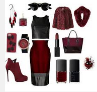 Marsala coloured clothes and accessories